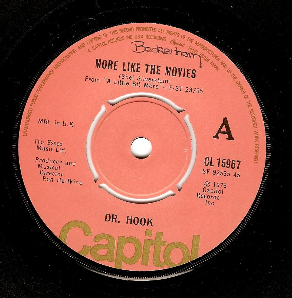 DR. HOOK More Like The Movies Vinyl Record 7 Inch Capitol 1978